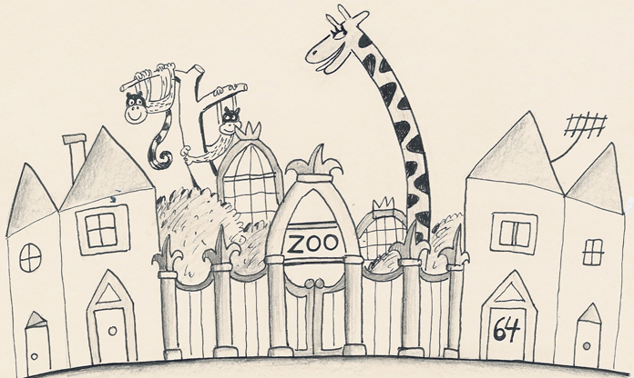 An early development drawing for 64 Zoo Lane